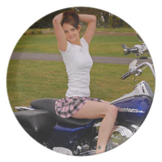 Motorcycle Momma2 Dinner Plate