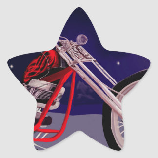 Motorcycle Moonlight Art Star Sticker