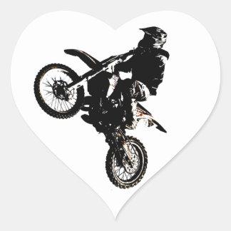 Motorcycle Motocross Heart Sticker