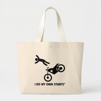 Motorcycle My Own Stunts Large Tote Bag