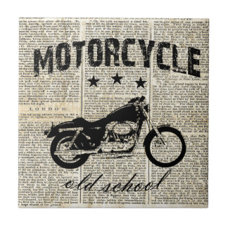 Motorcycle old school tile