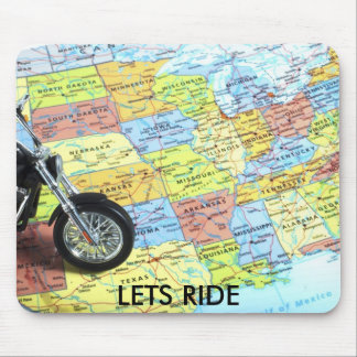 Motorcycle on Map of USA, LETS RIDE Mouse Pads