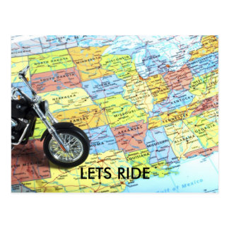 Motorcycle on Map of USA, LETS RIDE Postcard