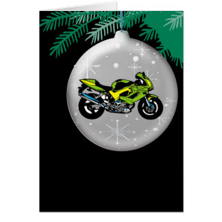 Motorcycle Ornament Christmas Card