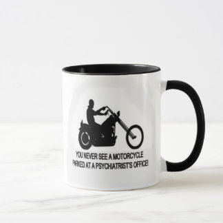 Motorcycle Parked Outside A Psychiatrist's Office Mug