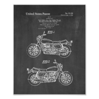 Motorcycle Patent - Chalkboard Poster