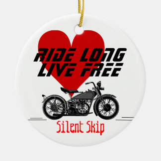 Motorcycle-Personalize It Double-Sided Ceramic Round Christmas Ornament