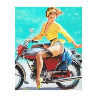 Motorcycle Pin Up Canvas Print