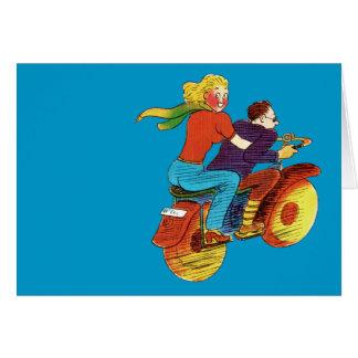 Motorcycle Pin-Up Greeting Card