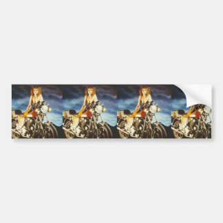 Motorcycle Pin-up Girl Bumper Sticker