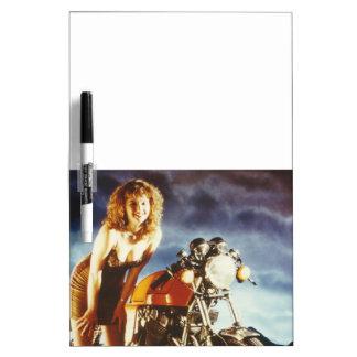 Motorcycle Pin Up Girl Dry-Erase Board