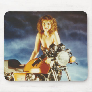 Motorcycle Pin-up Girl Mouse Pad
