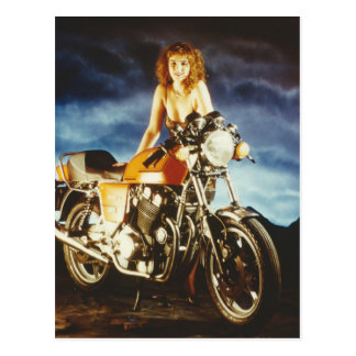 Motorcycle Pin-up Girl Postcard