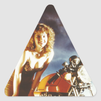 Motorcycle Pin Up Girl Triangle Sticker