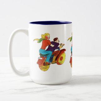 Motorcycle Pin-Up Two-Tone Coffee Mug