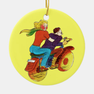 Motorcycle Pin-Up Double-Sided Ceramic Round Christmas Ornament