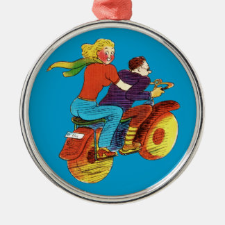 Motorcycle Pin-Up Round Metal Christmas Ornament