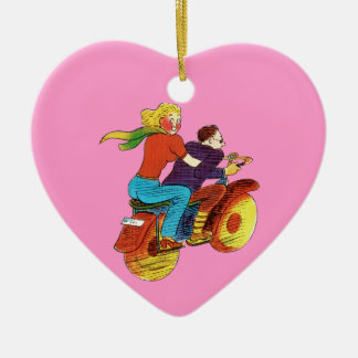 Motorcycle Pin-Up Double-Sided Heart Ceramic Christmas Ornament