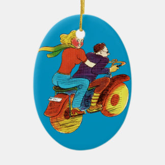 Motorcycle Pin-Up Double-Sided Oval Ceramic Christmas Ornament