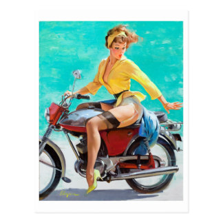 Motorcycle Pin Up Postcard