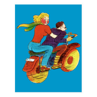 Motorcycle Pin-Up Postcard
