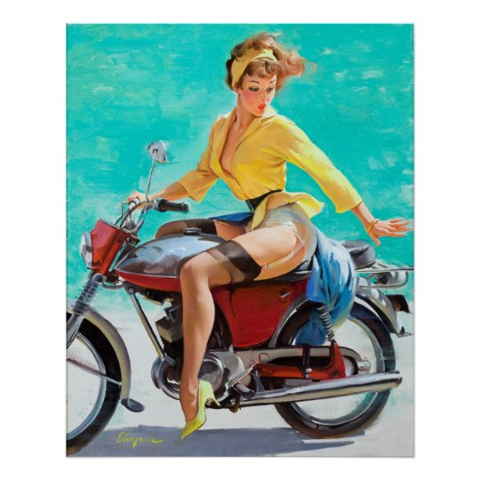 Motorcycle Pin Up Poster