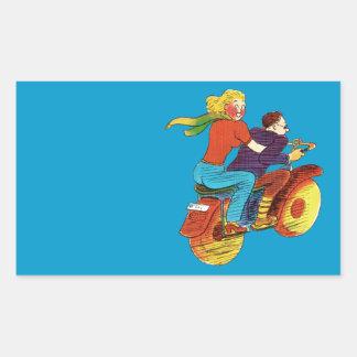 Motorcycle Pin-Up Rectangular Sticker