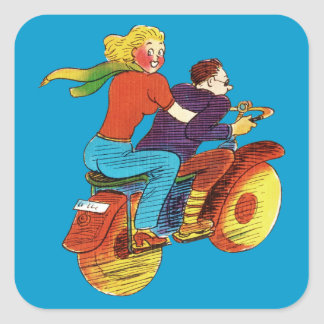 Motorcycle Pin-Up Square Sticker