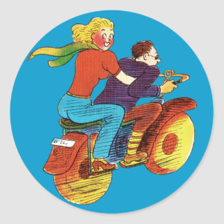 Motorcycle Pin-Up Classic Round Sticker