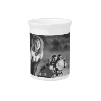 Motorcycle Pinup Girl Beverage Pitcher