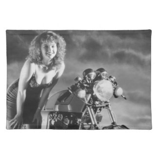 Motorcycle Pinup Girl Cloth Placemat
