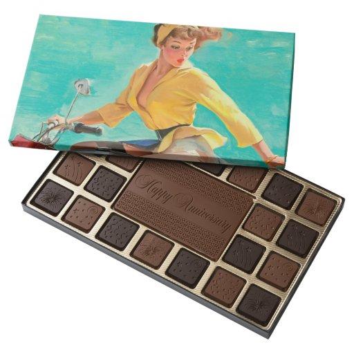 Motorcycle Pin Up Girl Box of Chocolates