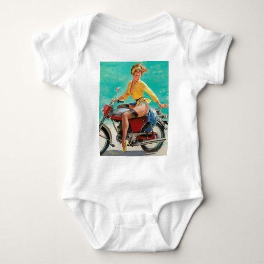 Motorcycle Pinup Girl - Retro Pinup Art Baby Bodysuit
