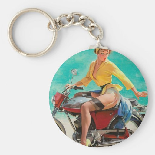 Motorcycle Pinup Girl - Retro Pinup Art Basic Round Button Keychain