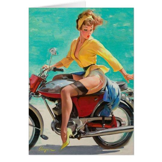 Motorcycle Pinup Girl - Retro Pinup Art Card