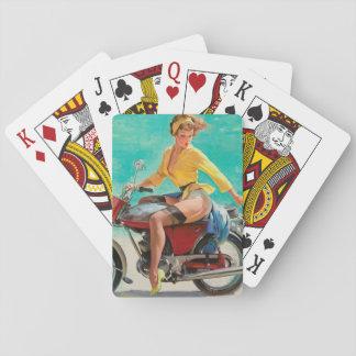 Motorcycle Pinup Girl - Retro Pinup Art Card Deck