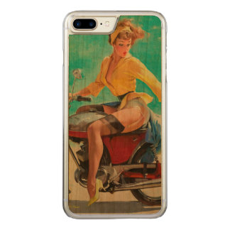 Motorcycle Pinup Girl - Retro Pinup Art Carved iPhone 8 Plus/7 Plus Case