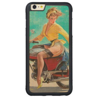 Motorcycle Pinup Girl - Retro Pinup Art Carved Maple iPhone 6 Plus Bumper Case