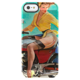 Motorcycle Pinup Girl - Retro Pinup Art Clear iPhone SE/5/5s Case