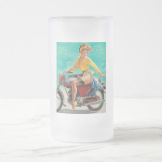 Motorcycle Pinup Girl - Retro Pinup Art Frosted Glass Beer Mug