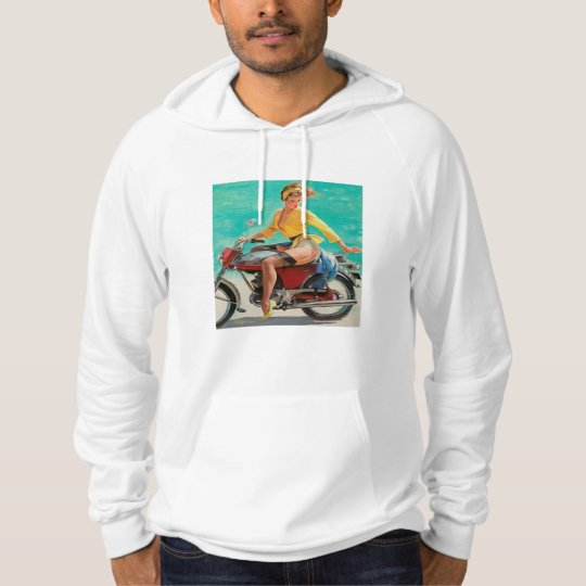 Motorcycle Pinup Girl - Retro Pinup Art Hoodie
