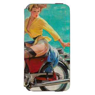 Motorcycle Pinup Girl - Retro Pinup Art iPhone 6/6s Wallet Case