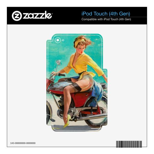 Motorcycle Pinup Girl - Retro Pinup Art iPod Touch 4G Decals