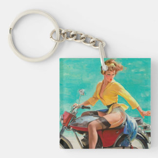 Motorcycle Pinup Girl - Retro Pinup Art Keychain
