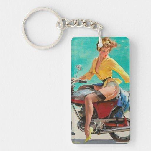 Motorcycle Pinup Girl - Retro Pinup Art Single-Sided Rectangular Acrylic Keychain