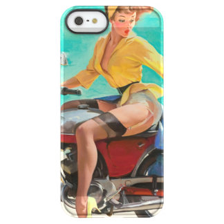 Motorcycle Pinup Girl - Retro Pinup Art Permafrost iPhone SE/5/5s Case