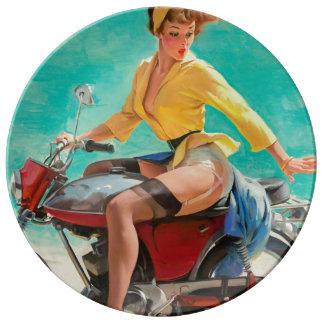 Motorcycle Pinup Girl - Retro Pinup Art Plate