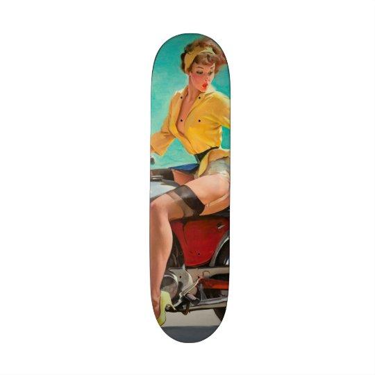 Motorcycle Pinup Girl - Retro Pinup Art Skateboard Deck