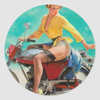 Motorcycle Pinup Girl - Retro Pinup Art Classic Round Sticker