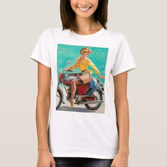Motorcycle Pinup Girl - Retro Pinup Art T-Shirt
